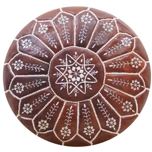 Brown Detailed Moroccan Pouf | Ottoman
