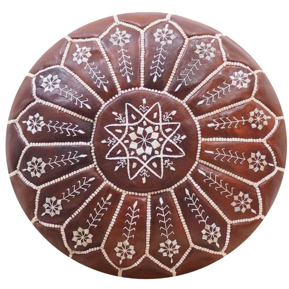 Moroccan Pouf | Ottoman Embroidery+ Brown