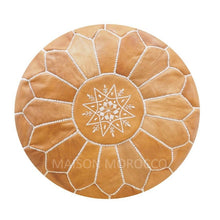 Load image into Gallery viewer, Moroccan Pouf | Ottoman in Light Caramel Brown