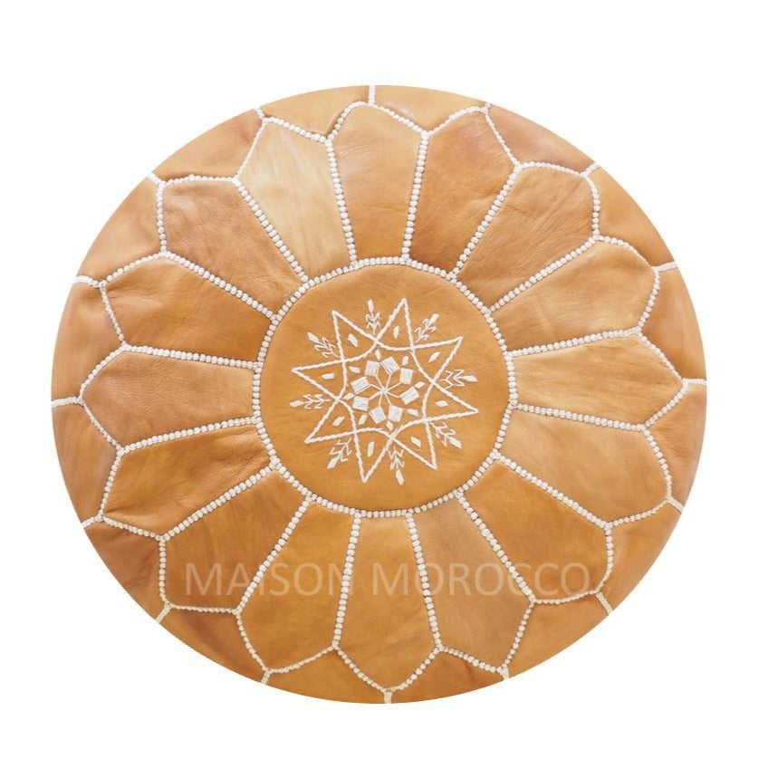 Moroccan Pouf | Ottoman in Light Caramel Brown