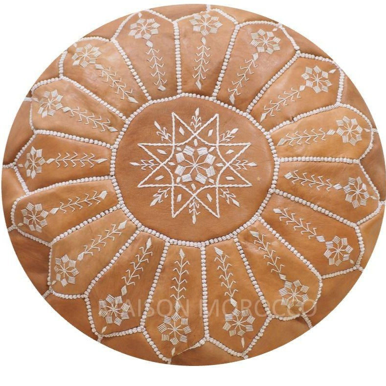 Moroccan Pouf | Ottoman Embroidery+ Caramel