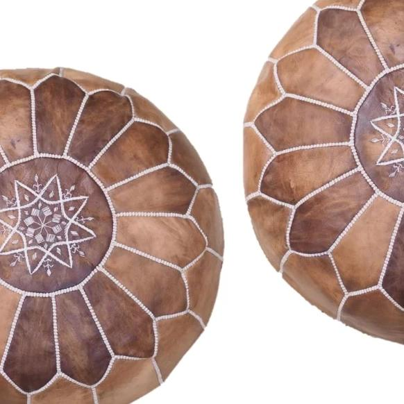 Moroccan Pouf | Ottoman in Shades of Brown x2
