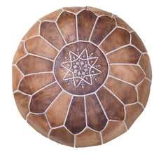 Load image into Gallery viewer, Moroccan Pouf | Ottoman in Shades of Brown x2