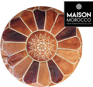 Moroccan Pouf | Ottoman in Caramel Shades