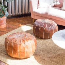 Load image into Gallery viewer, caramel brown moroccan pouf