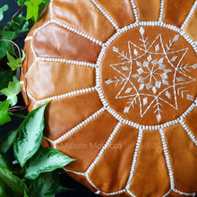 Load image into Gallery viewer, brown tan leather moroccan pouf ottoman maison morocco