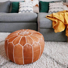 Load image into Gallery viewer, moroccan leather pouf brown tan maison morocco