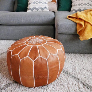 moroccan leather pouf brown tan maison morocco
