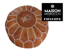 Load image into Gallery viewer, Moroccan Pouf | Ottoman in Caramel Brown Hand of Fatima