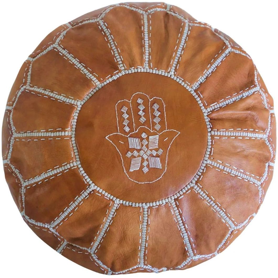 Moroccan Pouf | Ottoman in Caramel Brown Hand of Fatima