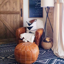 Load image into Gallery viewer, brown tan leather moroccan pouf ottoman by maison morocco