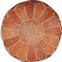 Load image into Gallery viewer, Moroccan Pouf | Ottoman in Tan Caramel Brown