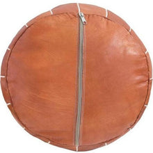 Load image into Gallery viewer, zipper filling brown tan leather moroccan pouf ottoman maison morocco