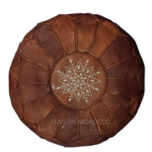 Moroccan Pouf | Ottoman Brown Leather Seams