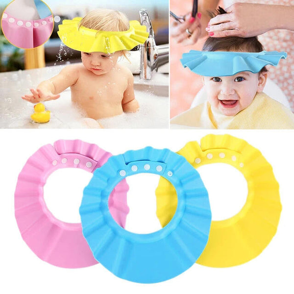 3Pcs Adjustable Soft Kids Bathing Shower Hat