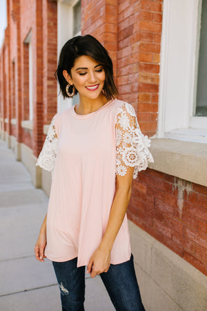 3D Lace Sleeved Top