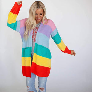 Bright Cable Knit Color Block Cardi