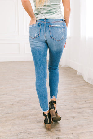 Button Fly High Rise Distressed Skinny Jeans