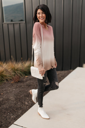 Color Melt Sweater in Mauve