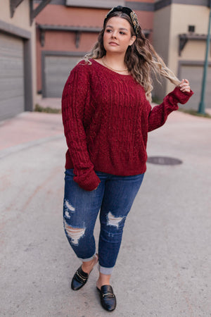 Cozy Cropped Sweater in Cranberry