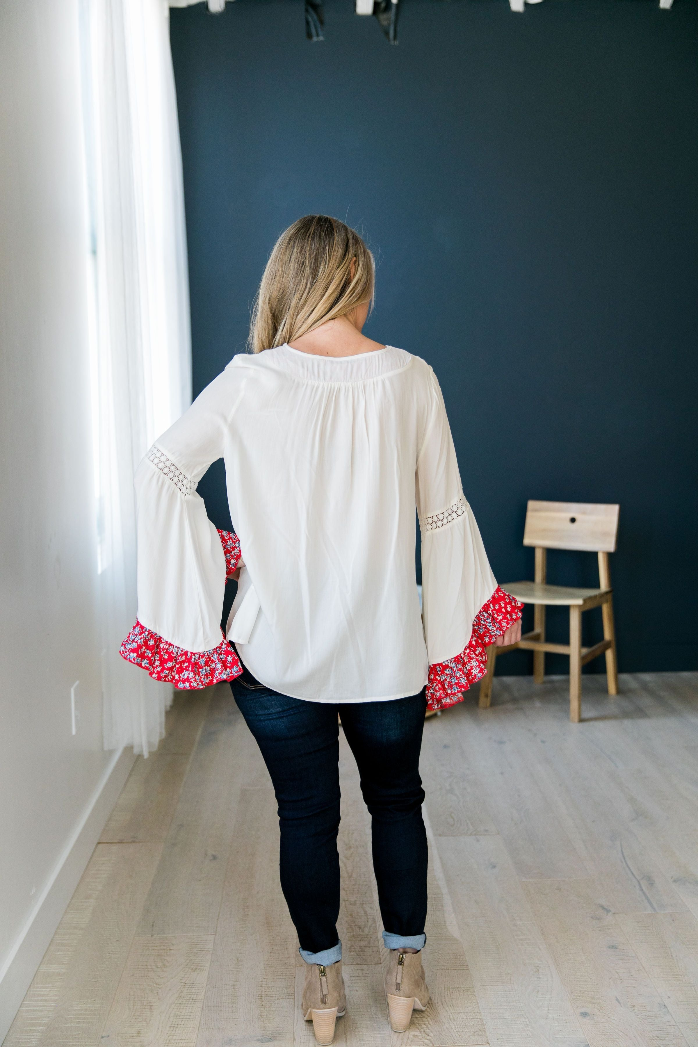 Divine Details Top In White + Red