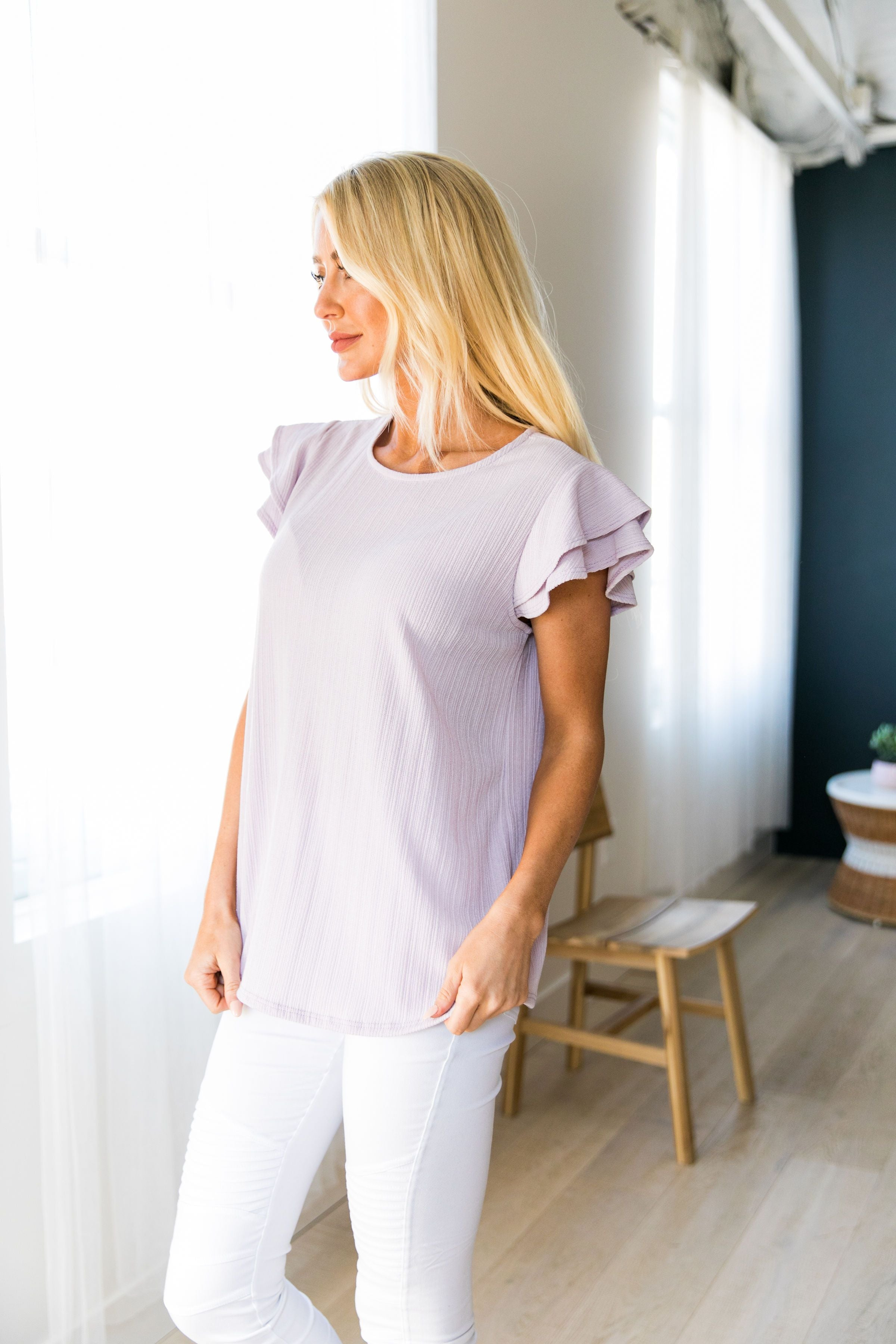 Double Ruffle Top In Lavender