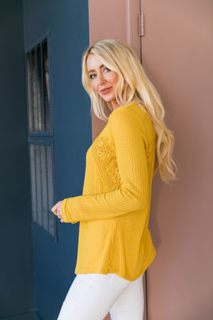 Heidi Lace Trimmed Henley In Honey