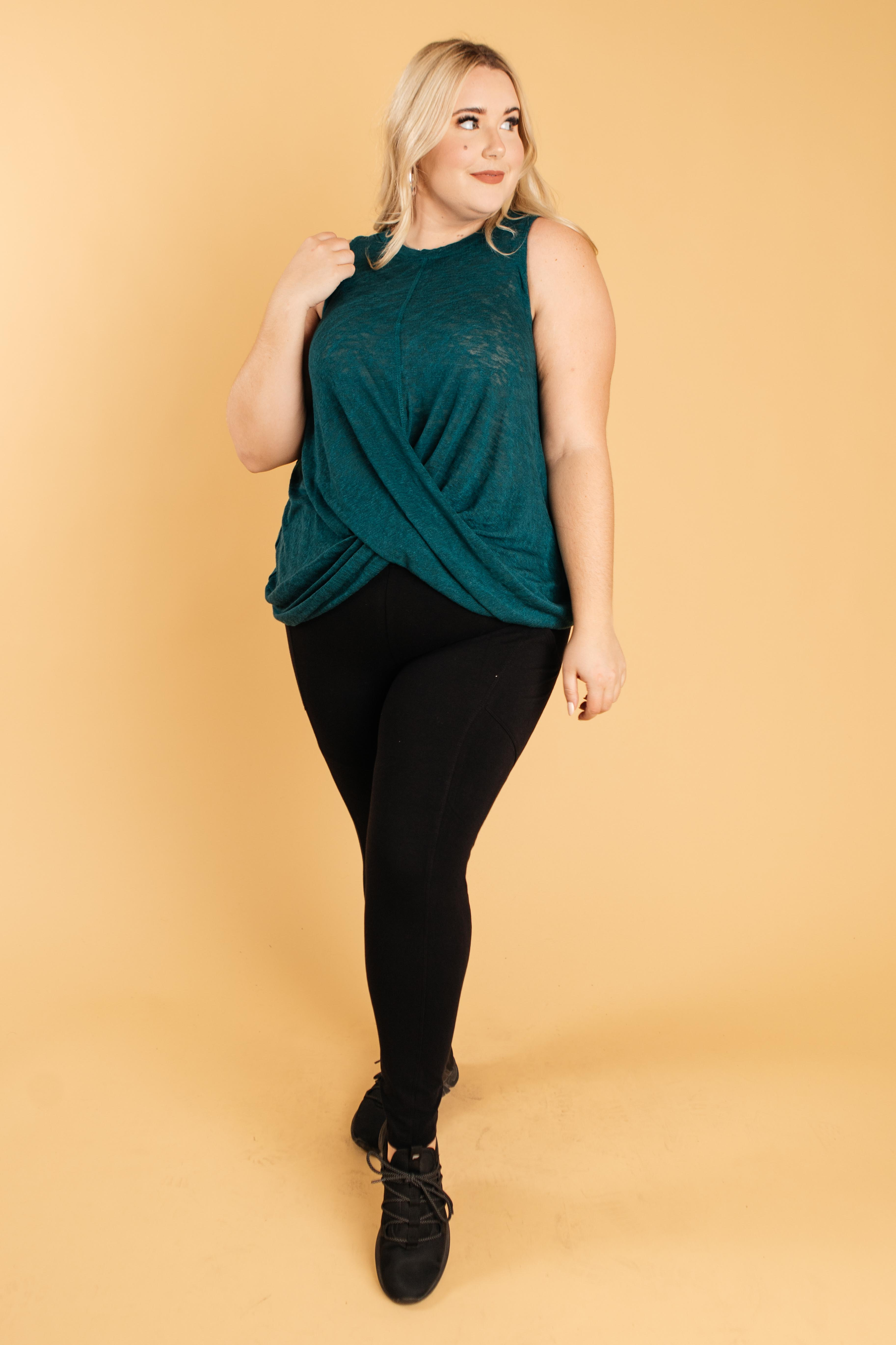 Knotted Hem Tank in Sea Green