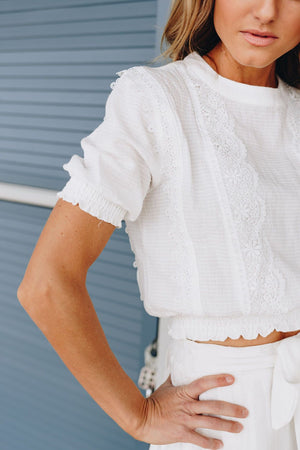 Lacy Elegance Off-White Blouse