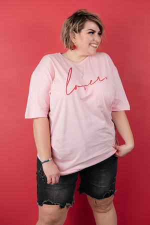 Lover Graphic Tee in Rose