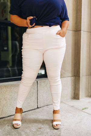 Marvelous Moto Jeggings In Pale Pink PLUS