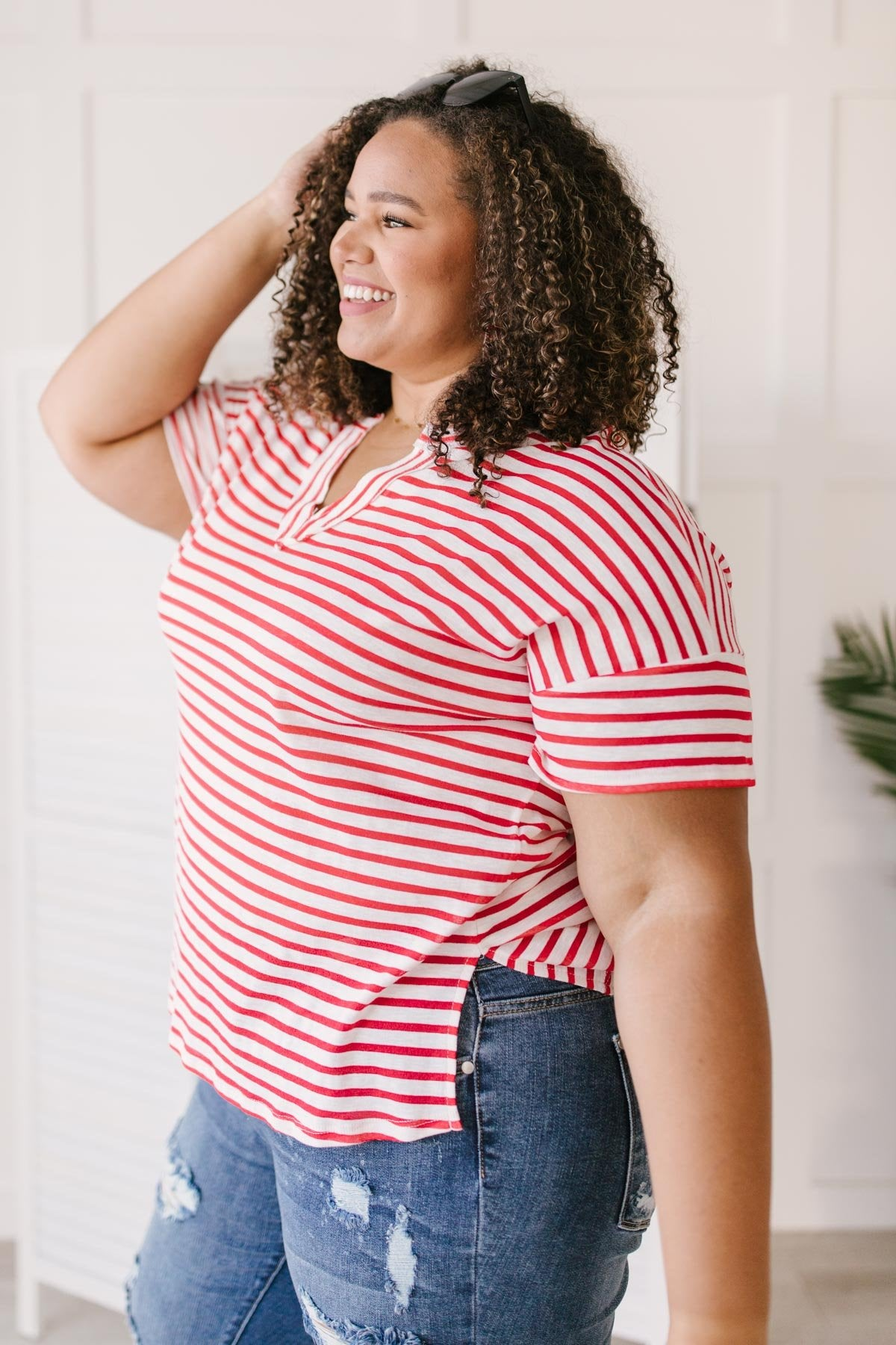 One and Only Stripes Top in Red
