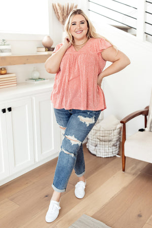Ribbed Flutter Sleeve Top in Coral