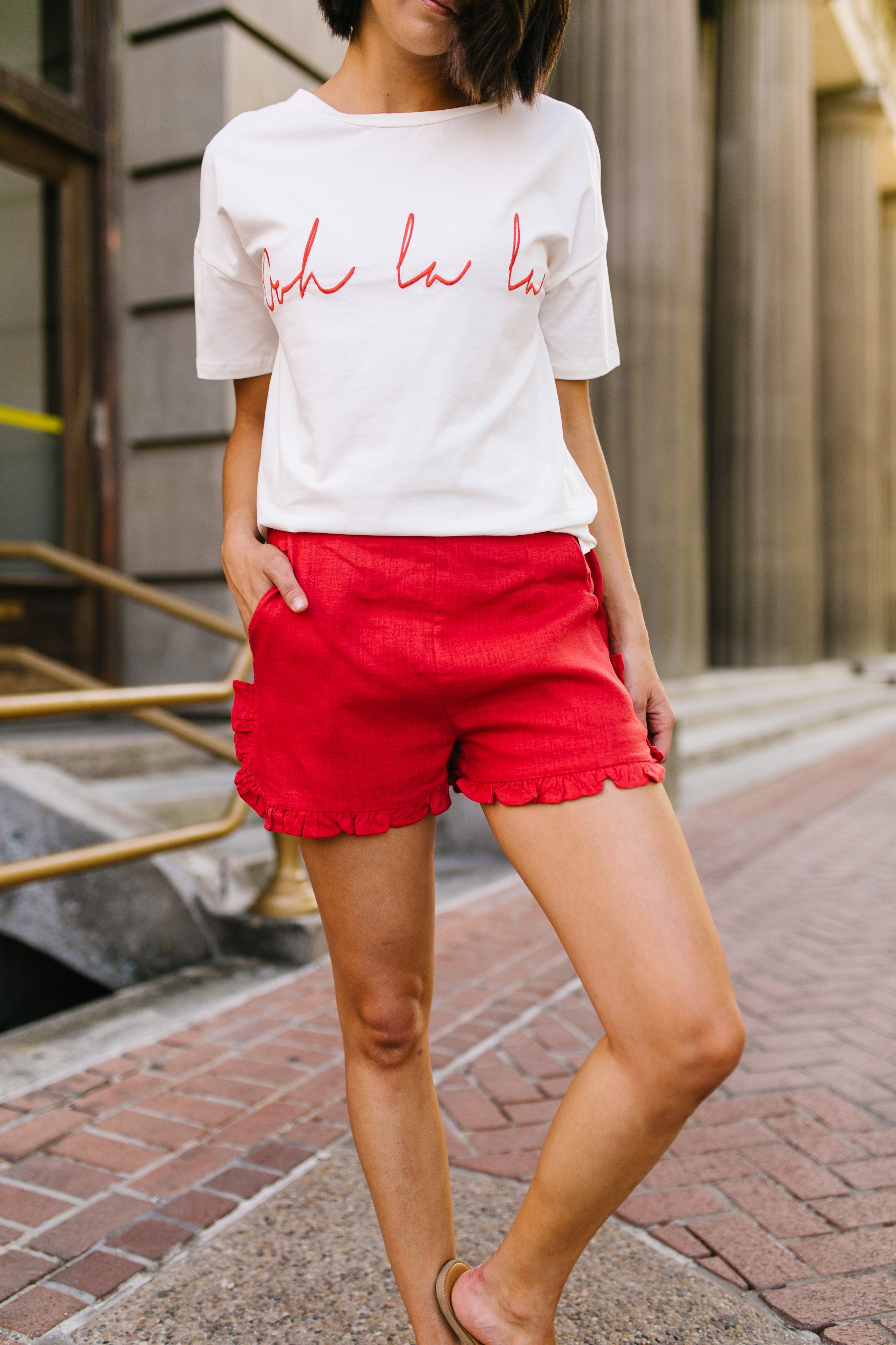 Ruffled Red Shorts