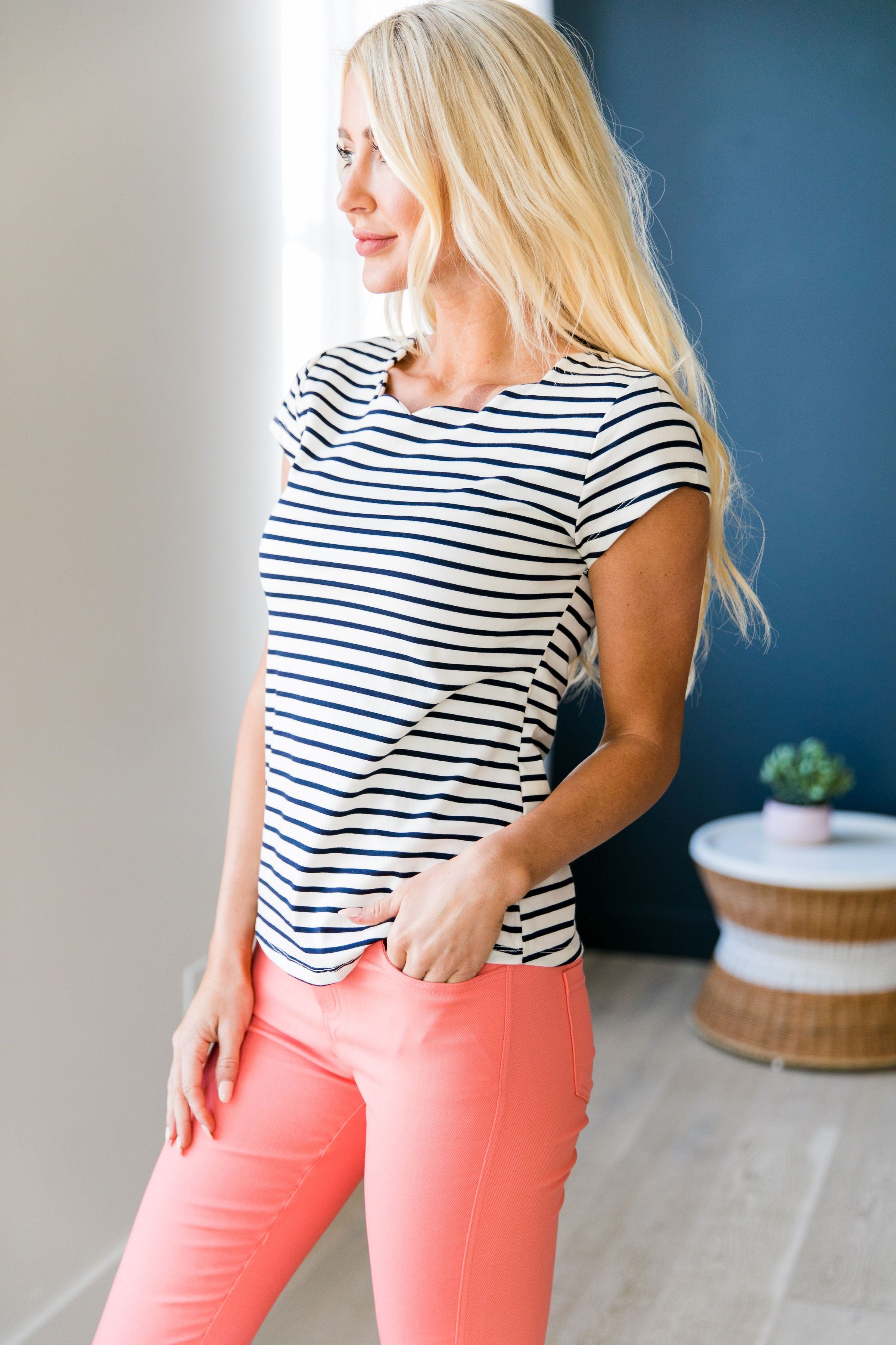 Scandinavian Scallops + Stripes Tee