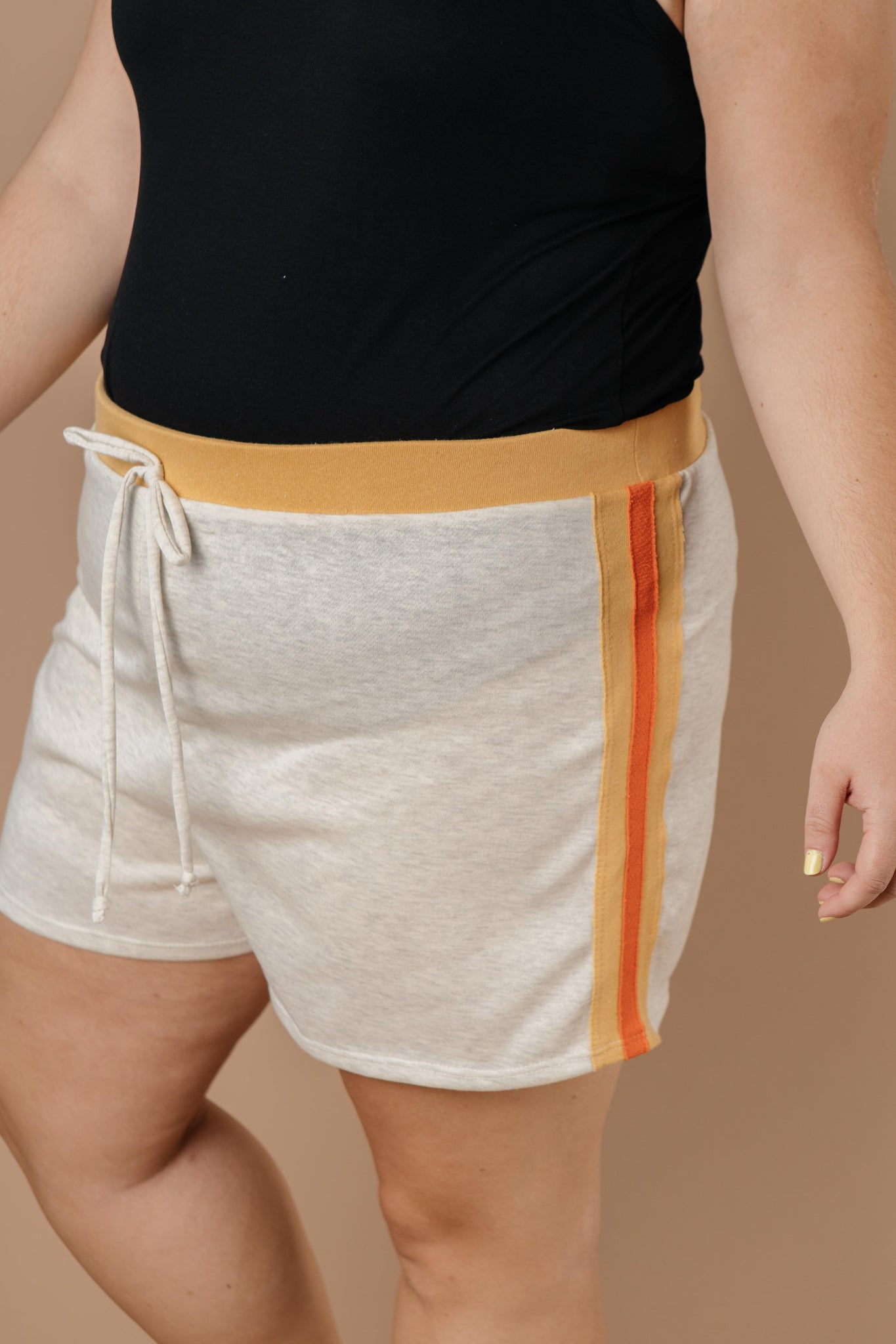 Sporty Stripe Shorts In Oatmeal