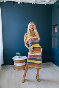 Sunset Beach Striped T-Shirt Dress