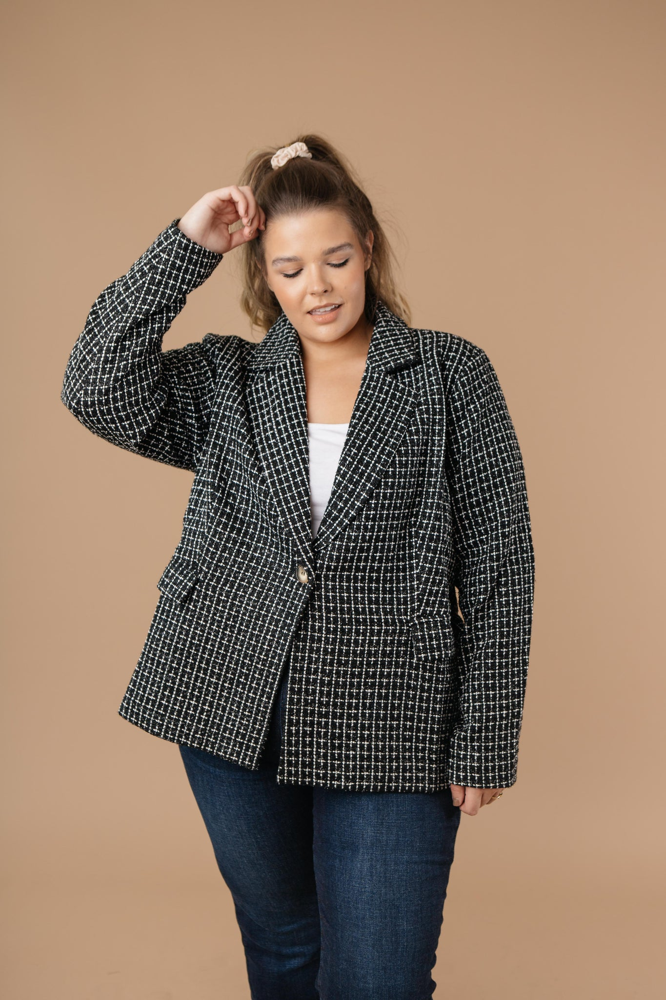 Tweedle Delightful Tweed Blazer In Black