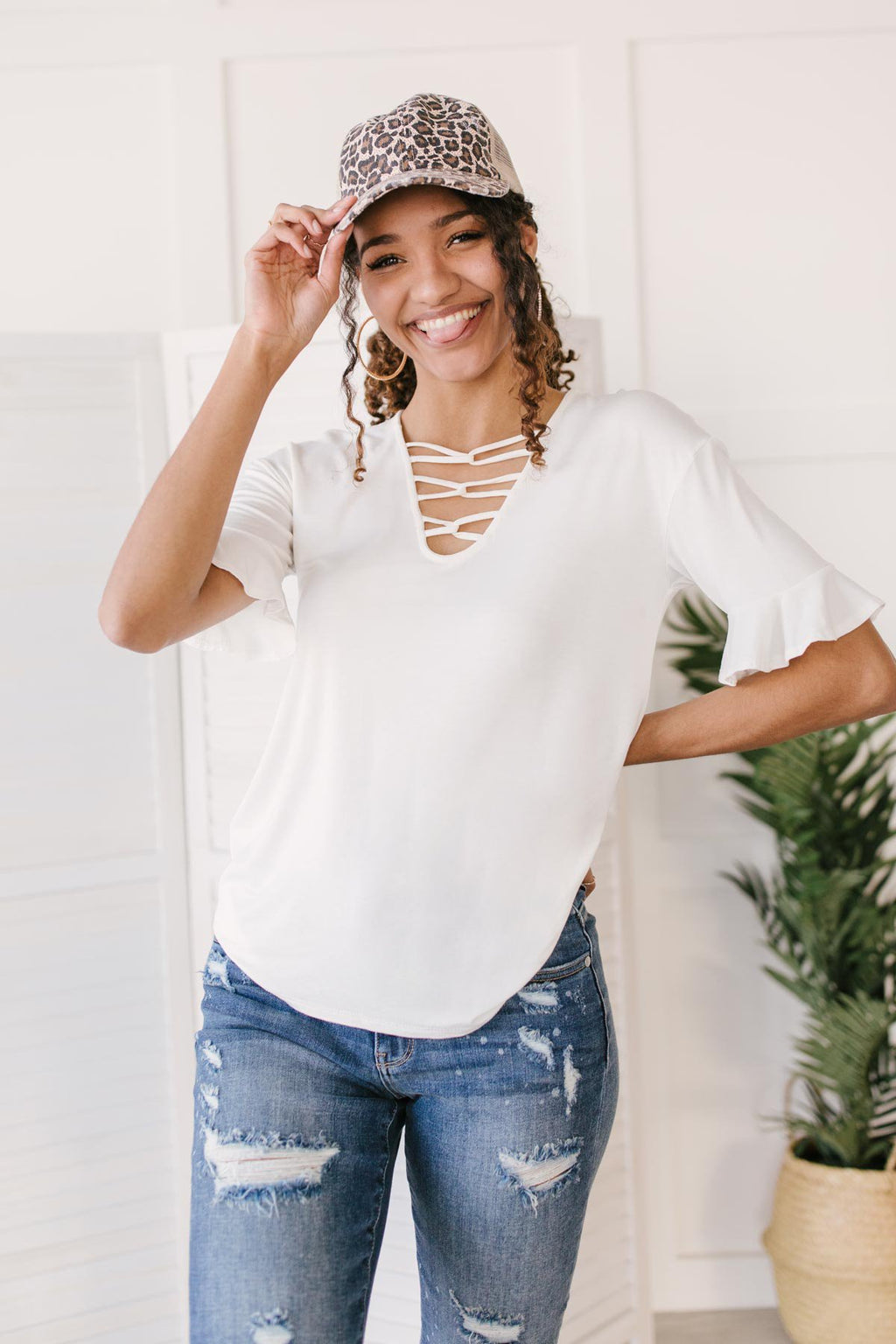 Unique Neckline Top in Ivory