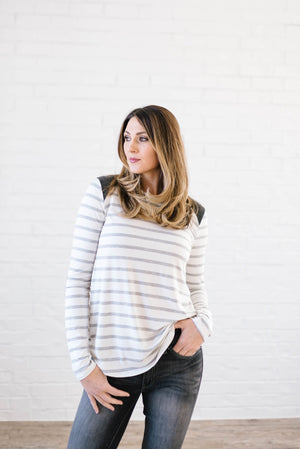 Alta Striped Long Sleeve Top in Gray & White