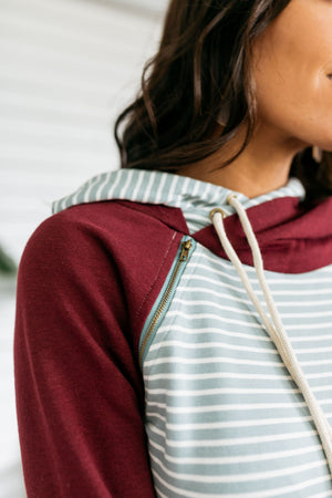 Angling For Awesome Hoodie In Sage + Bugundy