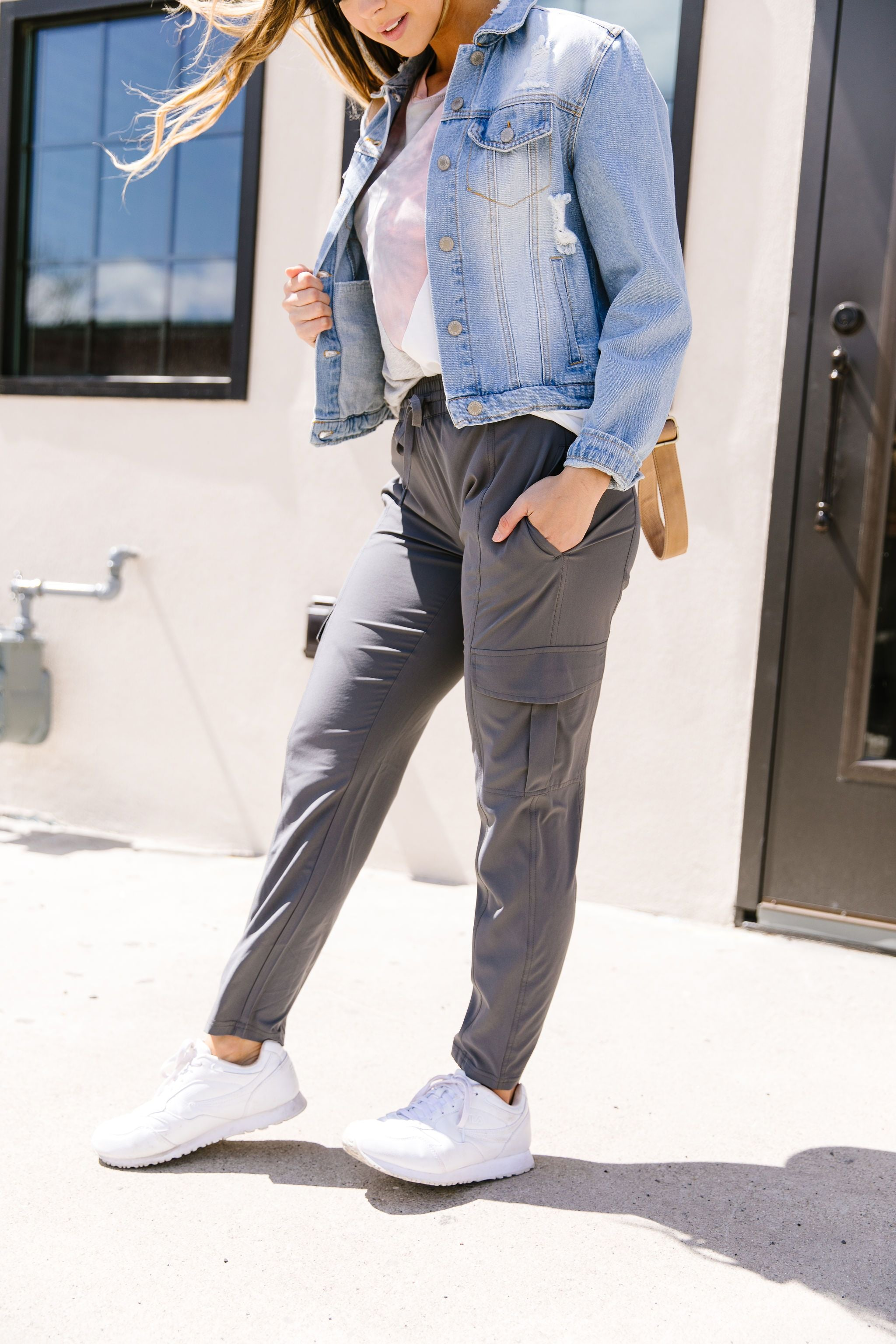 Athleisure Cargo Joggers In Slate