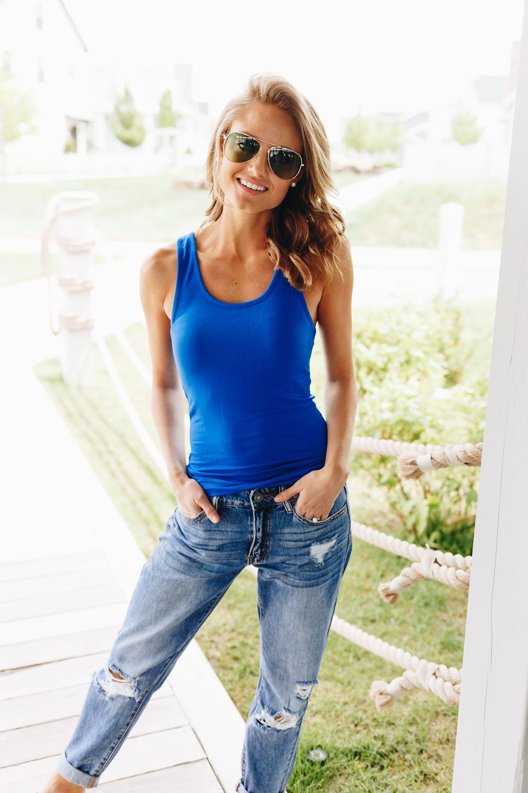 Basic Scoop Neck Tank In Cornflower Blue