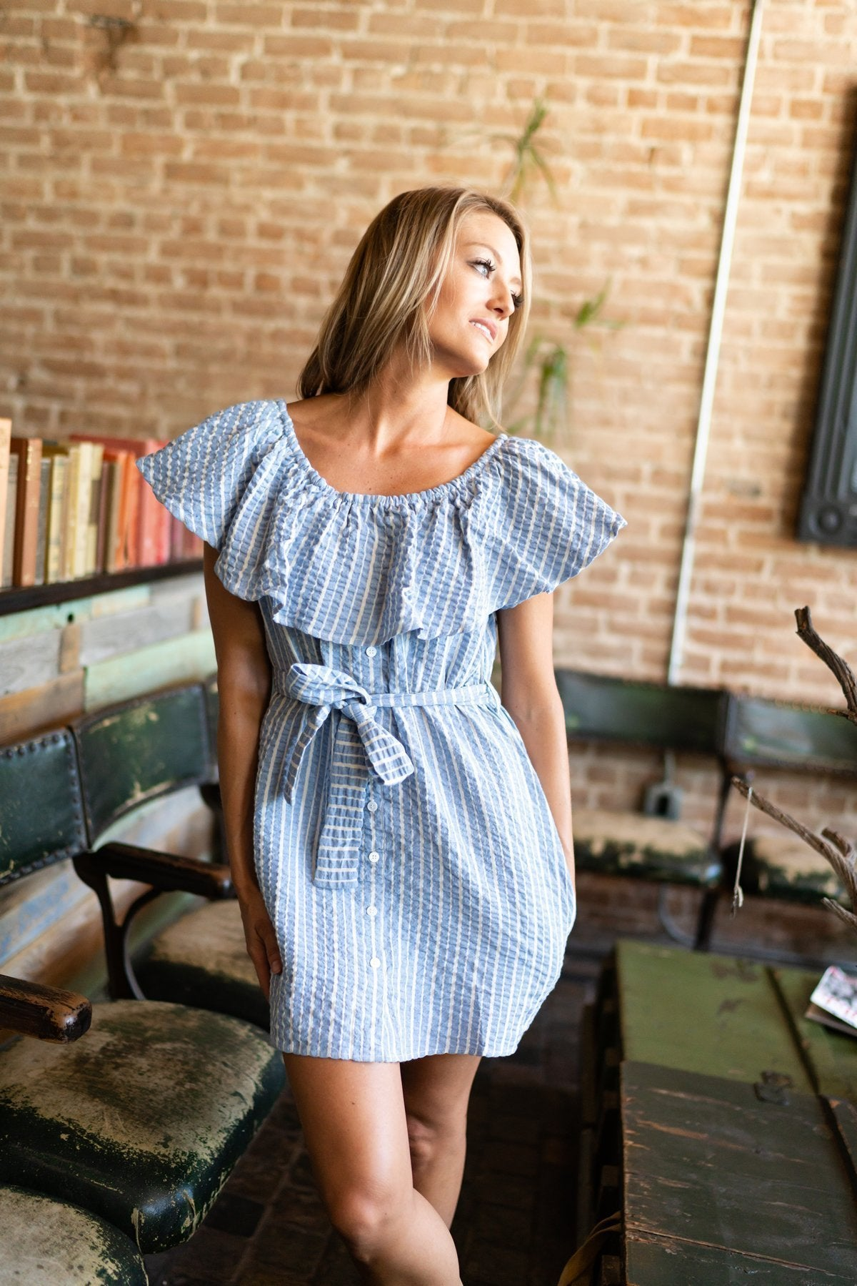Blue Striped Off Shoulder Dress - ALL SALES FINAL