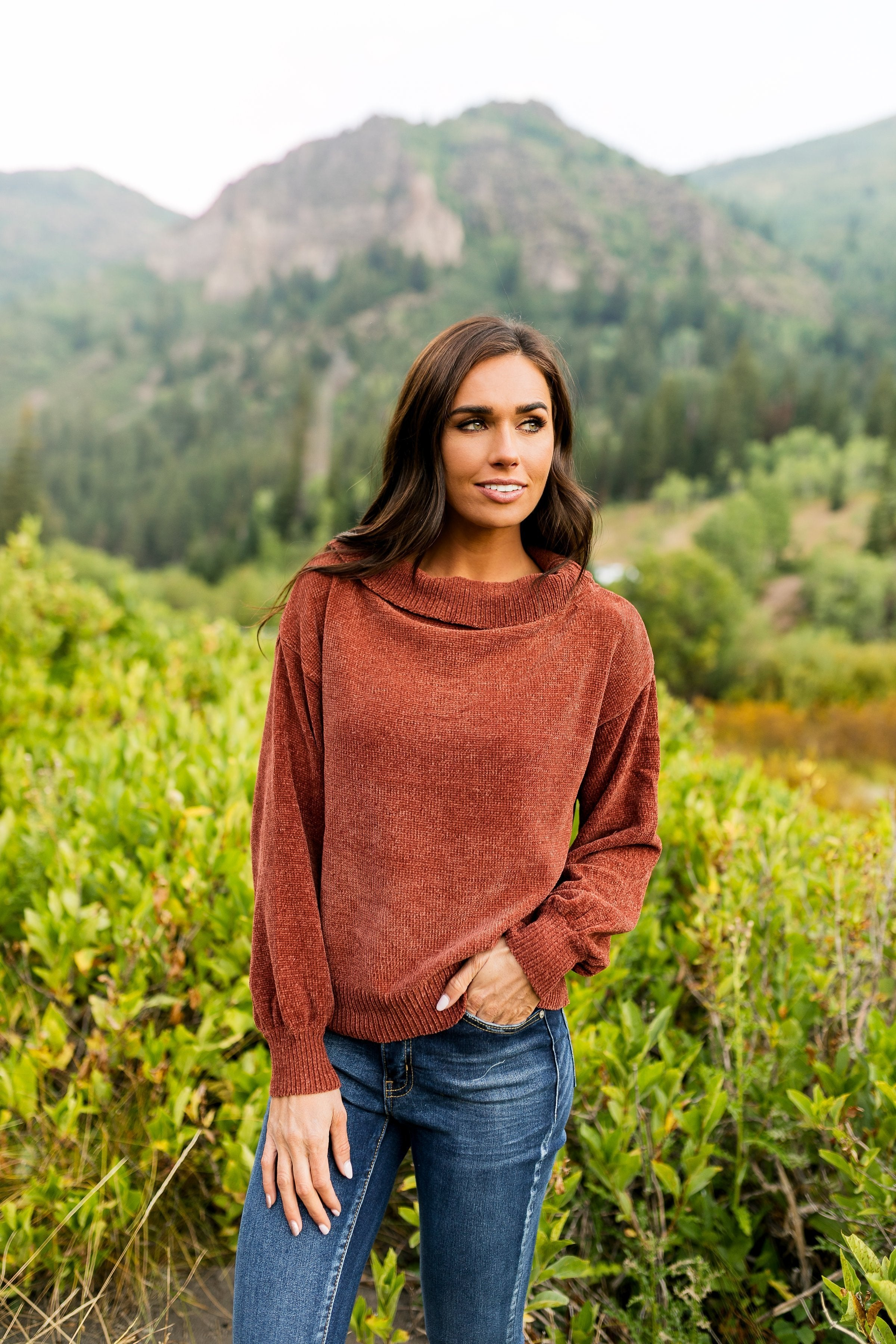 Bonfire Nights Sweater In Rust - ALL SALES FINAL