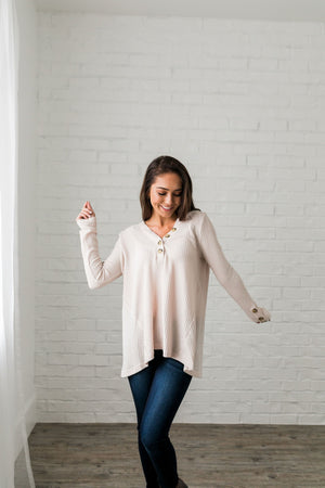 Bountiful Buttons V-Neck In Natural - ALL SALES FINAL