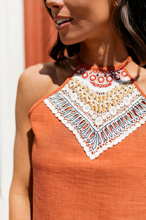 Burnt Orange Embroidered Halter