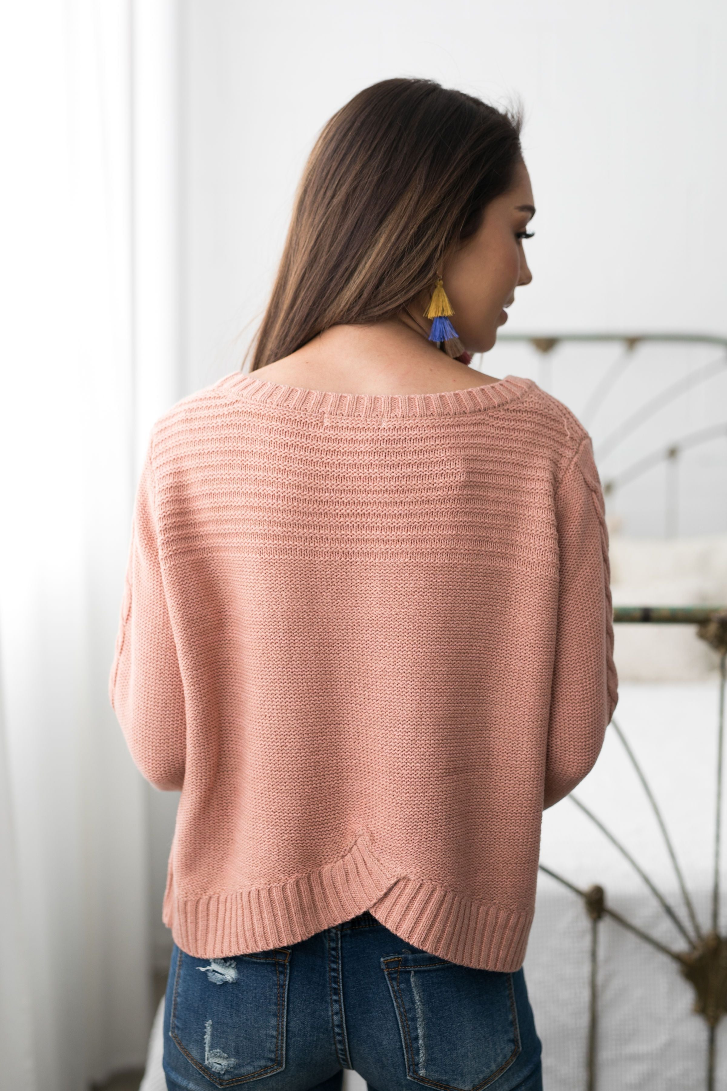 Cropped Cable Knit Sweater In Ginger - ALL SALES FINAL