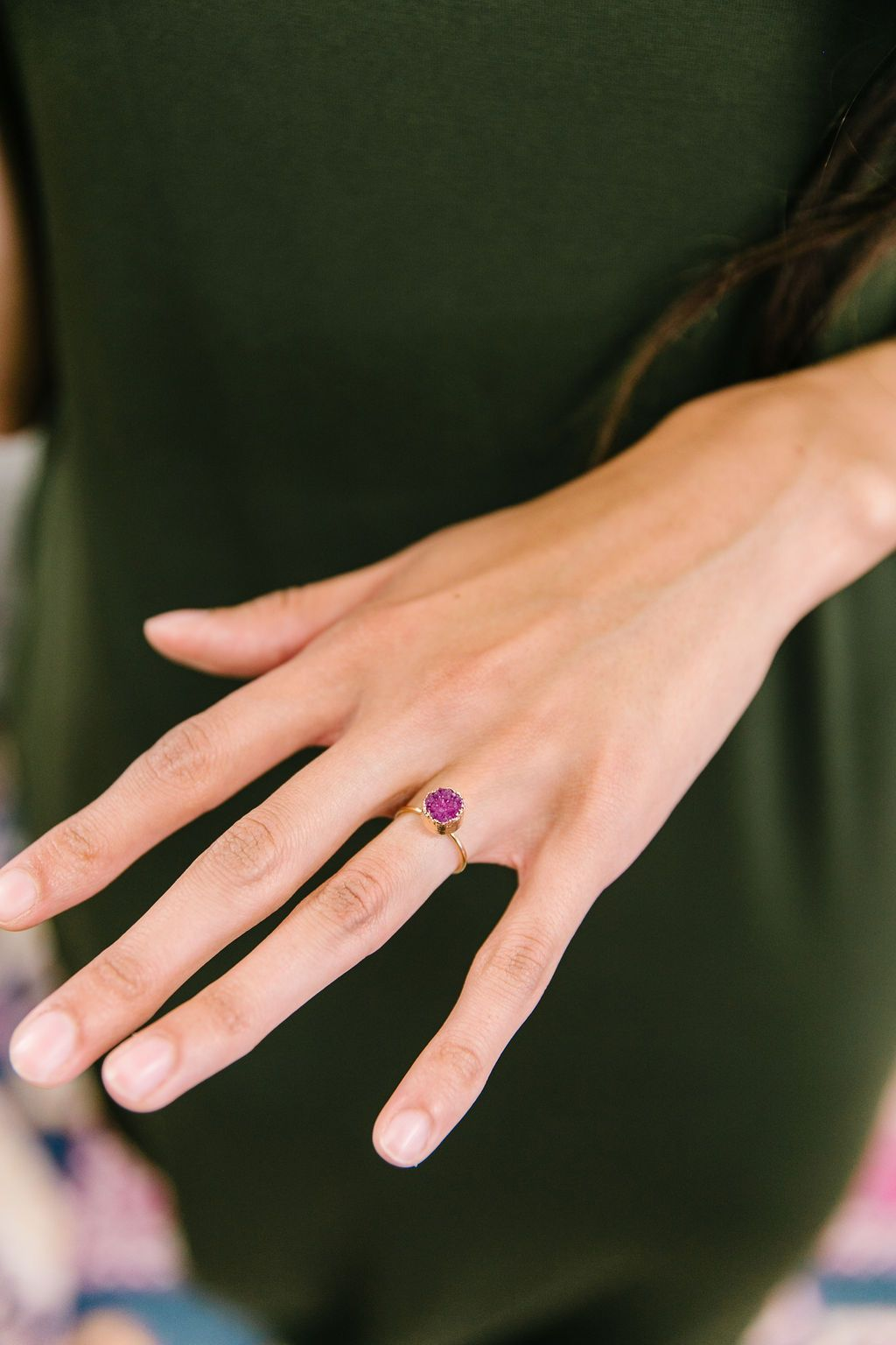 Druzy Adjustable Ring In Magenta