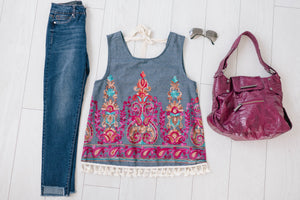 Embroidered Tassel Top